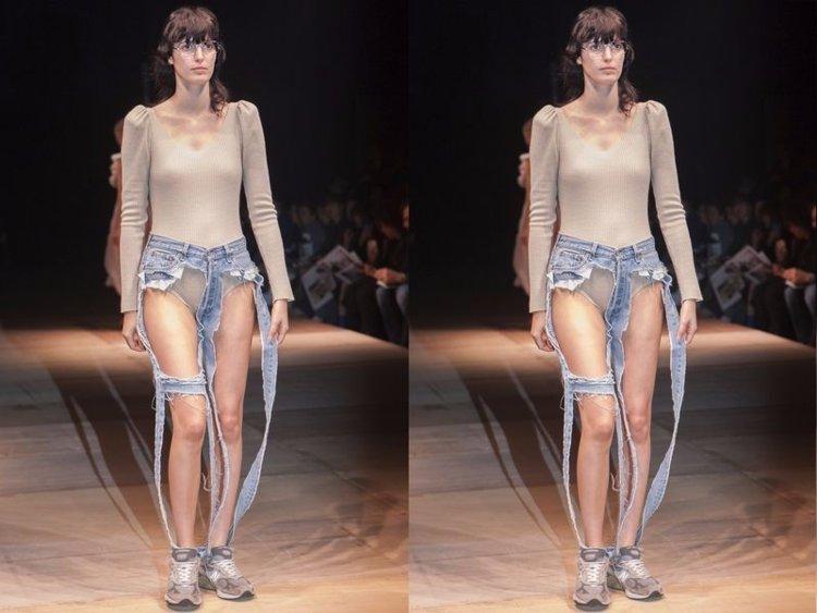 PunjabKesari, Nari, Weird Fashion image, Extreme Cut Out Jeans Image