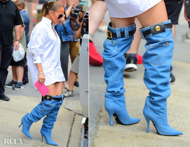 PunjabKesari, Nari, Weird Fashion image, Denim Boots Image
