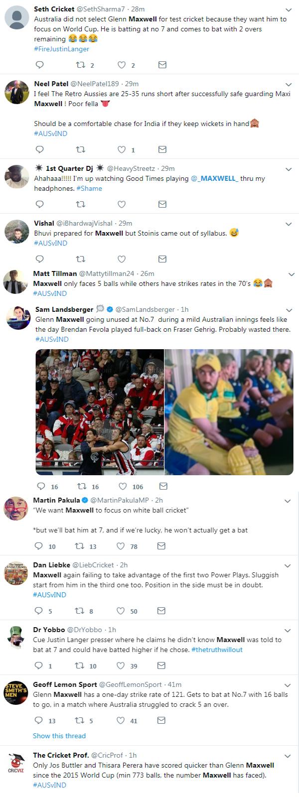 Twitter slammed Australian coach & Captain for Demoted Glenn Maxwell