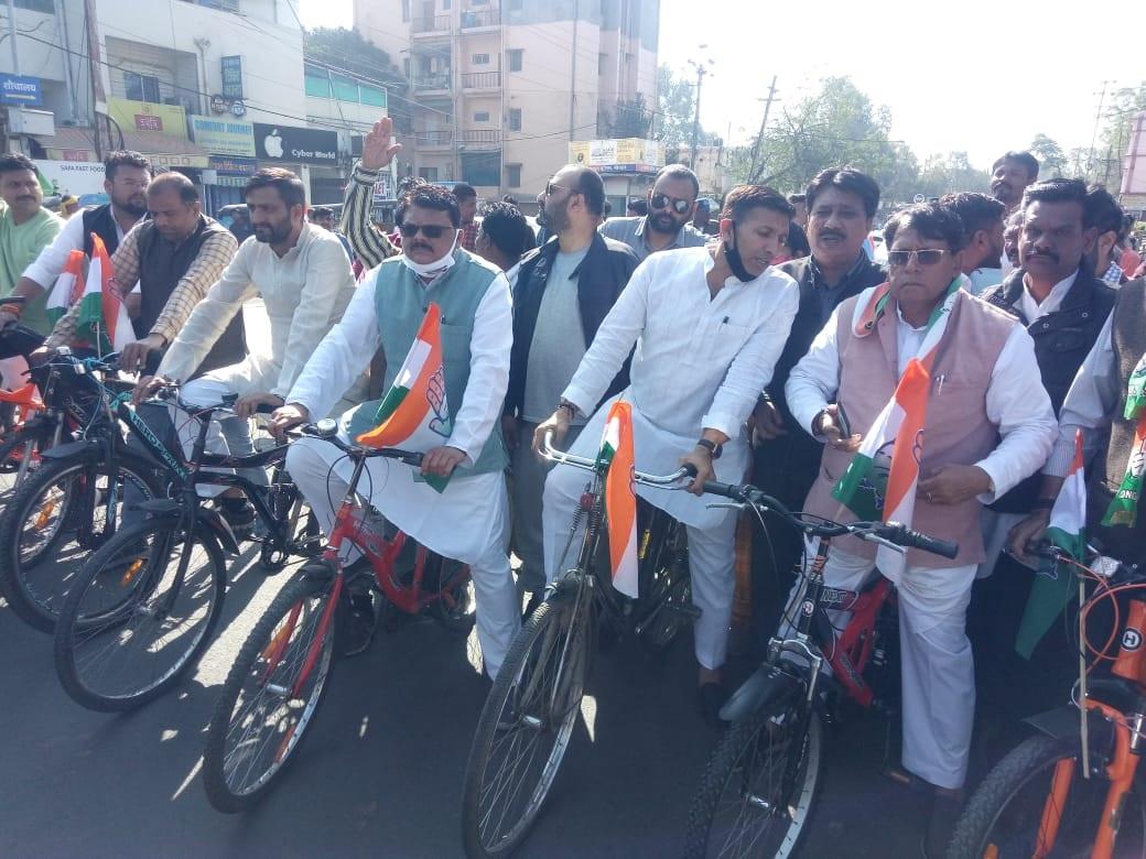विधानसभा बजट सत्र साइकिल रैली