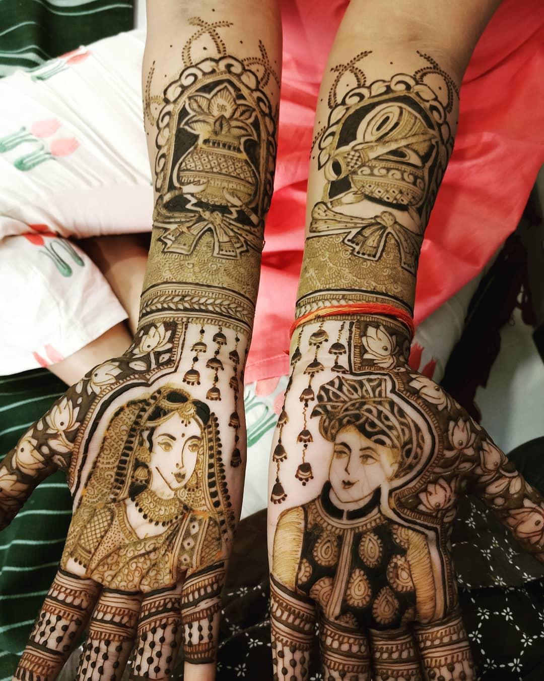 PunjabKesari, मेहंदी डिज़ाइन इमेज,पोर्ट्रेट मेहंदी डिज़ाइन फॉर ब्राइड, Mehndi Design Image, portrait mehndi design image