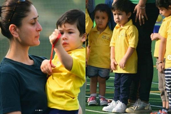 मम्मी करीना संग स्पोर्ट्स डे मनाने स्कूल पहुंचे तैमूर, कभी खेलते तो कभी रोते की तस्वीरें आई सामने