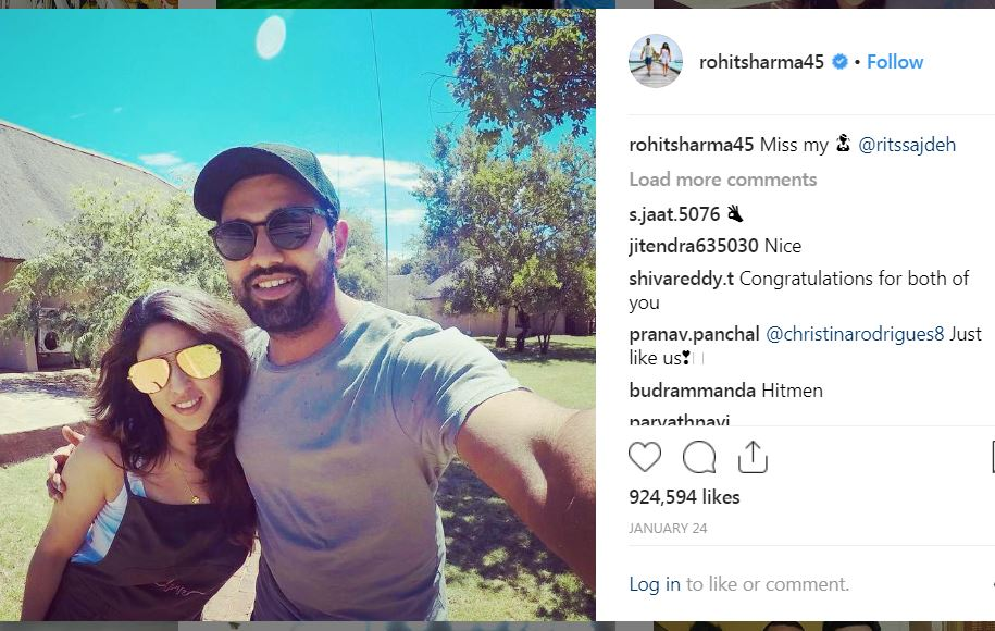 Rohit Sharma With Wife Ritika
