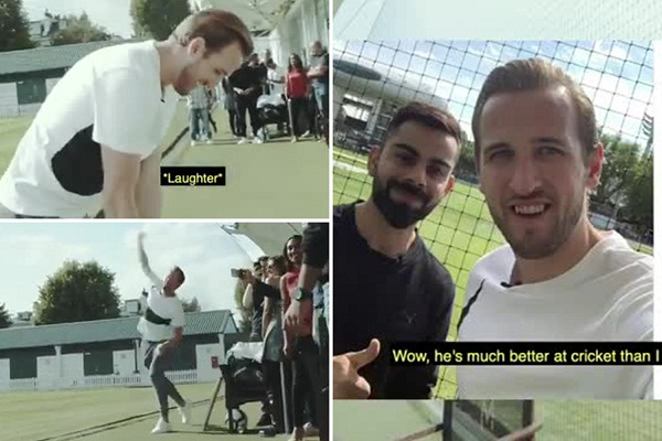 England footballer Harry kane and virat Kohli play cricket