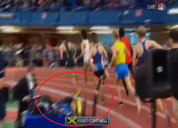 Olympian Kemoy Campbell collapses mid-race amid heart scare