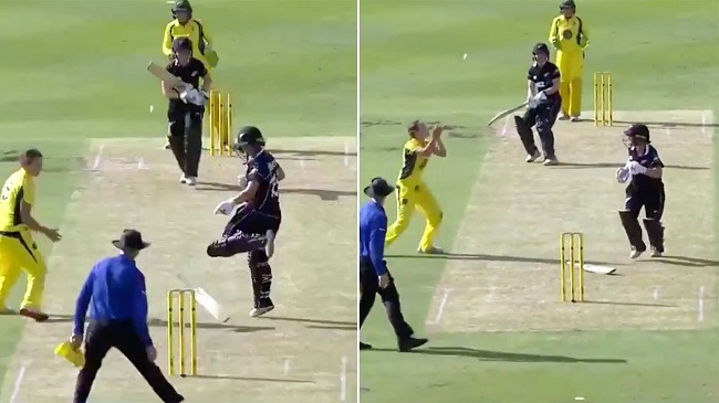 Martin helps Graham pick up one of the most bizarre wicket