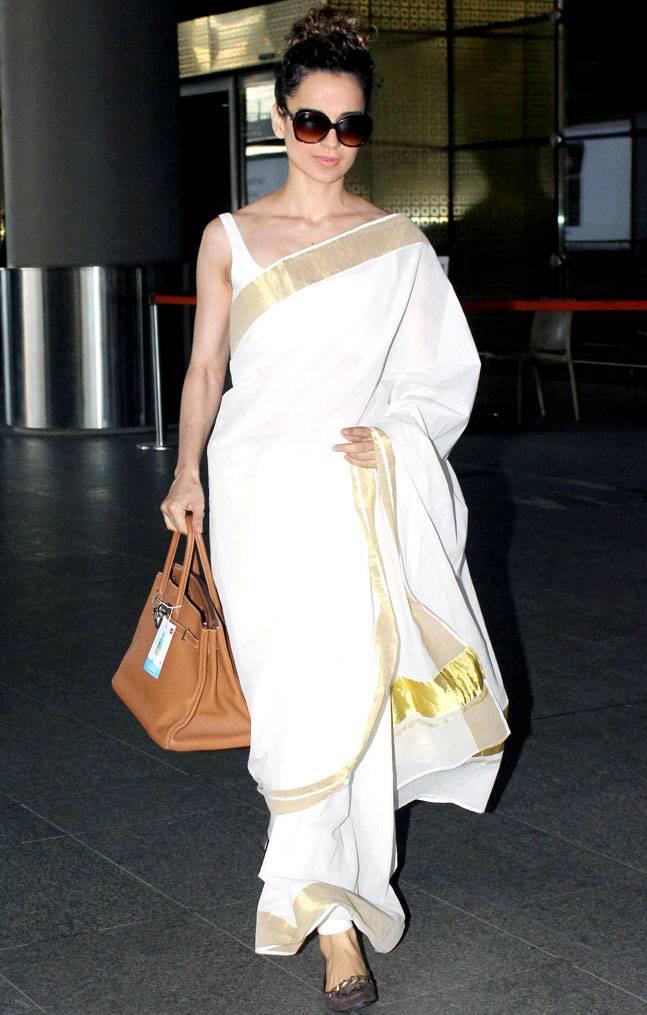 PunjabKesari, Nari, kangana ranaut at airport, kangana saree Look image