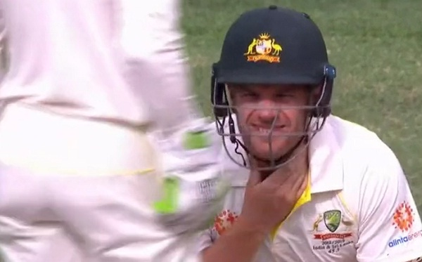 Tim Paine pokes fun at Aaron Finch after he got hit on the neck