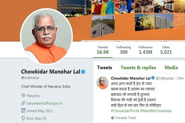 PunjabKesari, Bjp, Congress, Jjjp, Inld, BJP leader, watchman, social media, चौकीदार