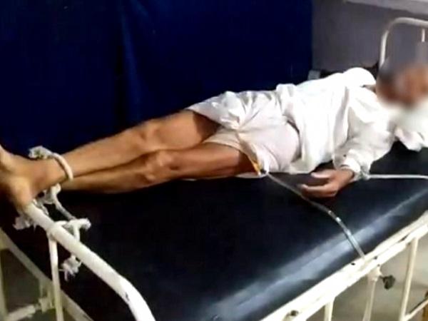 PunjabKesari, Madhya Pradesh News, Shajapur, patient, patient tied on bed, elderly tied on bed, private hospital, Shivraj Singh Chauhan