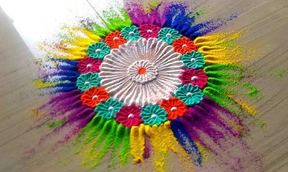 PunjabKesari, Holi Rangoli Design Image, होली रंगोली डिज़ाइन इमेज