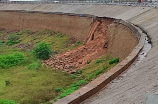 PunjabKesari, Over bridge, Lamtra gate, Katni over bridge, rain, bridge collapsed, Madhya Pradesh News