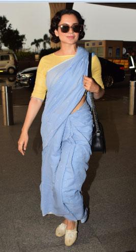 PunjabKesari, nari, kangana at airport image