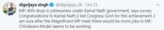 PunjabKesari, Madhya Pradesh News, Bhopal News, Congress, BJP, Kamal Nath government, unemployment decreased, CMIE report, Digvijay Singh, Gopal Bhargava