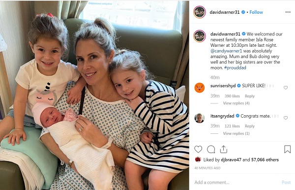 David warner become dad again, wife candice given birth to his third child