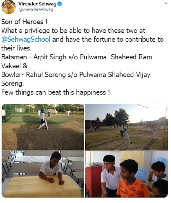 Sehwag is teaching cricket to sons of martyred soldiers in Pulwama attack