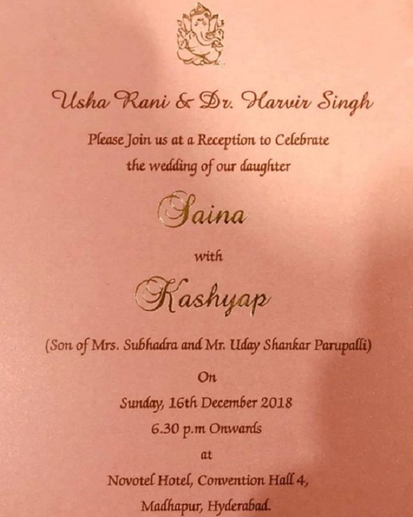 Saina Nehwal, Parupalli kashyap, Wedding card