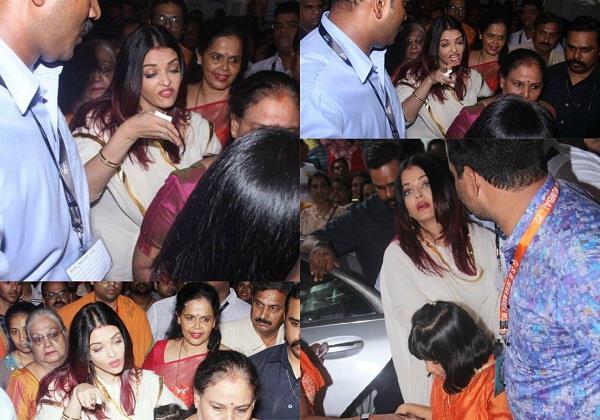 बेटी आराध्या संग गणपति बप्पा के दर्शन करने पहुंची एेश्वर्या, भीड़ को देख हुईं परेशान