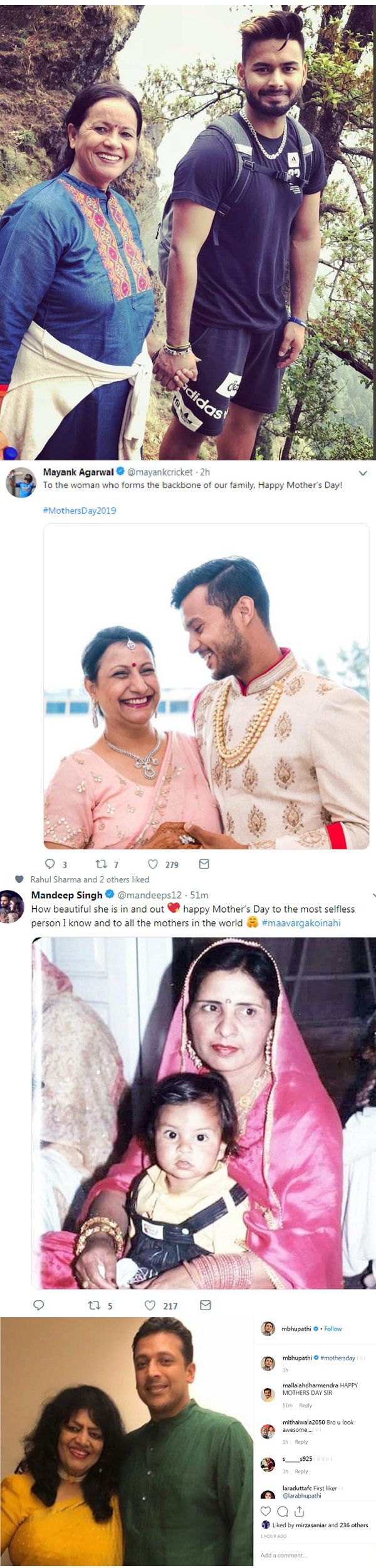 Sports stars celebrate mother's day