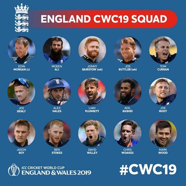 England cricket team announced for 2019 cricket world cup