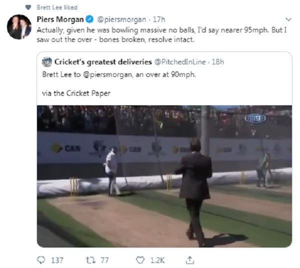 Brett Lee Bowling over 90kmph Balls to commentator Piers Morgan