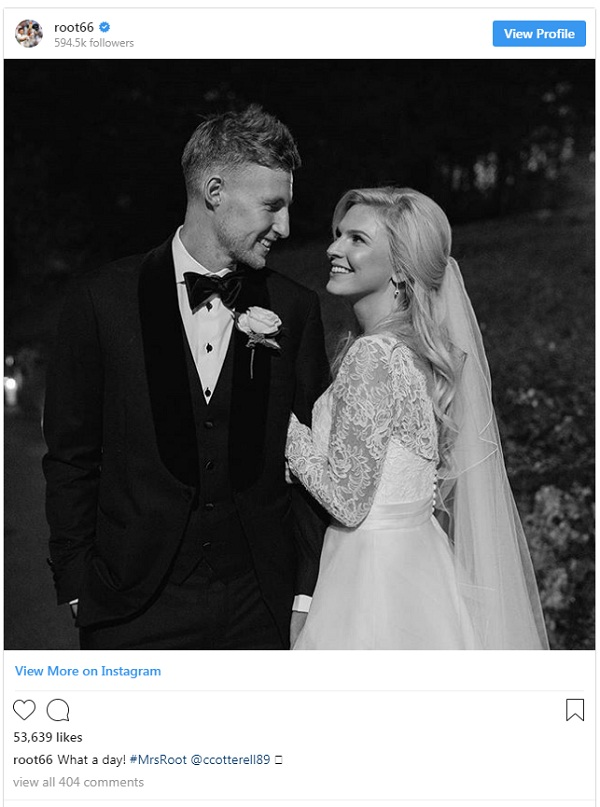 Joe root married carrie cotterell