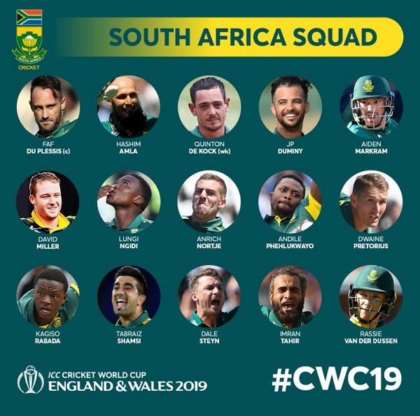 South Africa team for cricket world cup announced