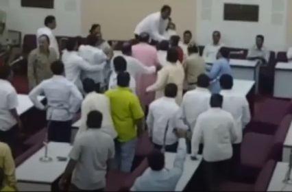 beating the councilor to opposing vajpayee tribute