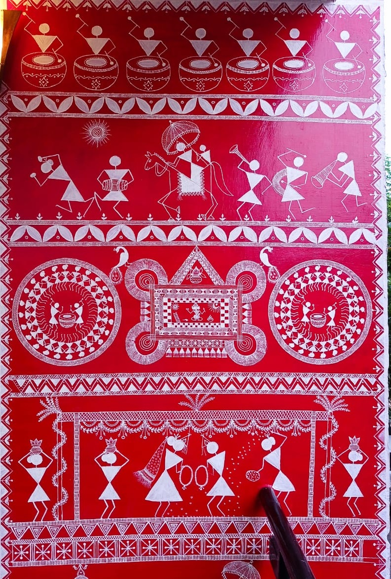 PunjabKesari, Madhya Pradesh, Indore, Wall painting, Lockdown, Corona period, Punjab Kesari