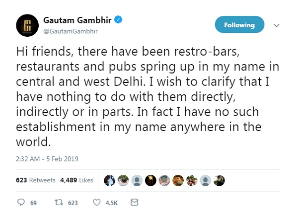 Have nothing to do with pubs and bars in my name in Delhi : Gambhir