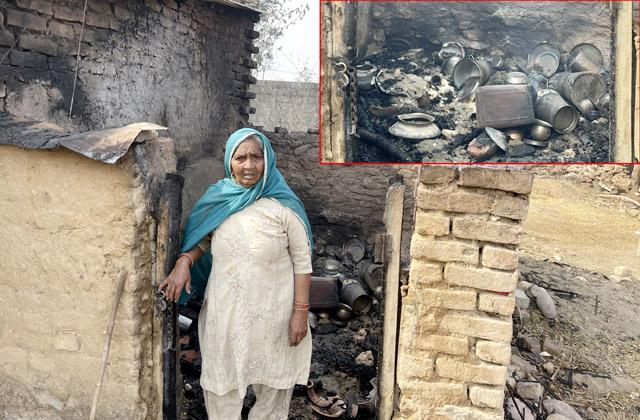 PunjabKesari, Burn House and Woman Image
