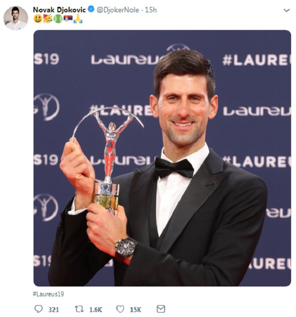 DJOKOVIC, SIMONE BILES SELECTED AS  SPORTSMEN OF THE YEAR