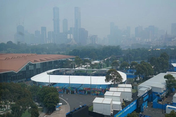 Australia Open: Tennis player DALILA JAKUPOVIC falls on court due to bad weather