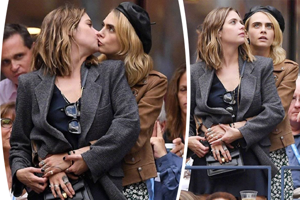 Cara Delevingne And Ashley Benson getting cozy in US Open final