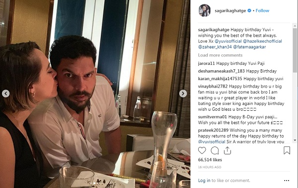 Yuvraj singh celebrate 37th birthday with wife hazel keech & Friend