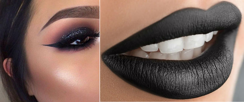 PunjabKesari, Nari, Black glitter eyelidand matte black lips, New year party makeup