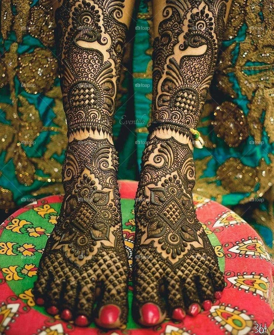 PunjabKesari, इंडियन मेहँदी डिज़ाइन इमेज,Easy Indian Mehndi Design For Legs,आसानइंडियन मेहंदीडिजाइन फॉर लेग्स