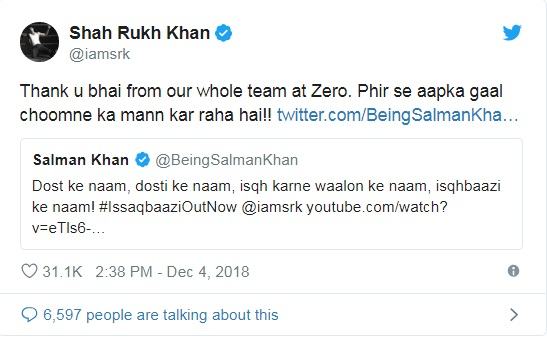 PunjabKesari, सलमान खान इमेज, शाहरुख खान इमेज, करण-अर्जुन इमेज, ट्वीट इमेज, इश्कबाज सॉन्ग इमेज, फिल्म जीरो सॉन्ग इमेज