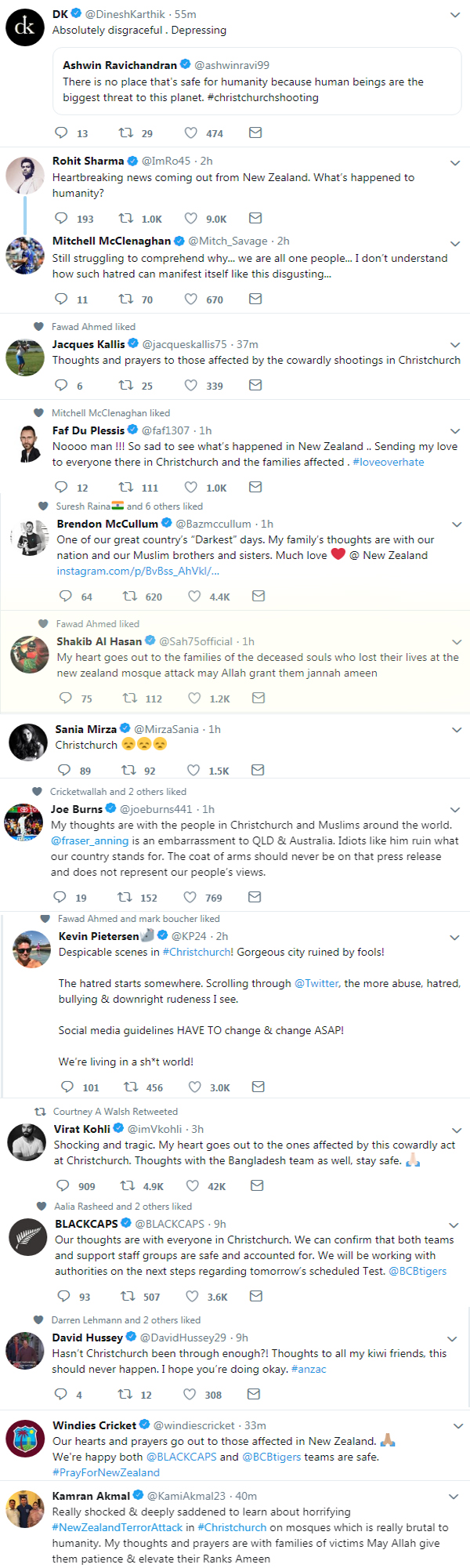 Christchurch attack : cricketers expressed their sadness, know who said