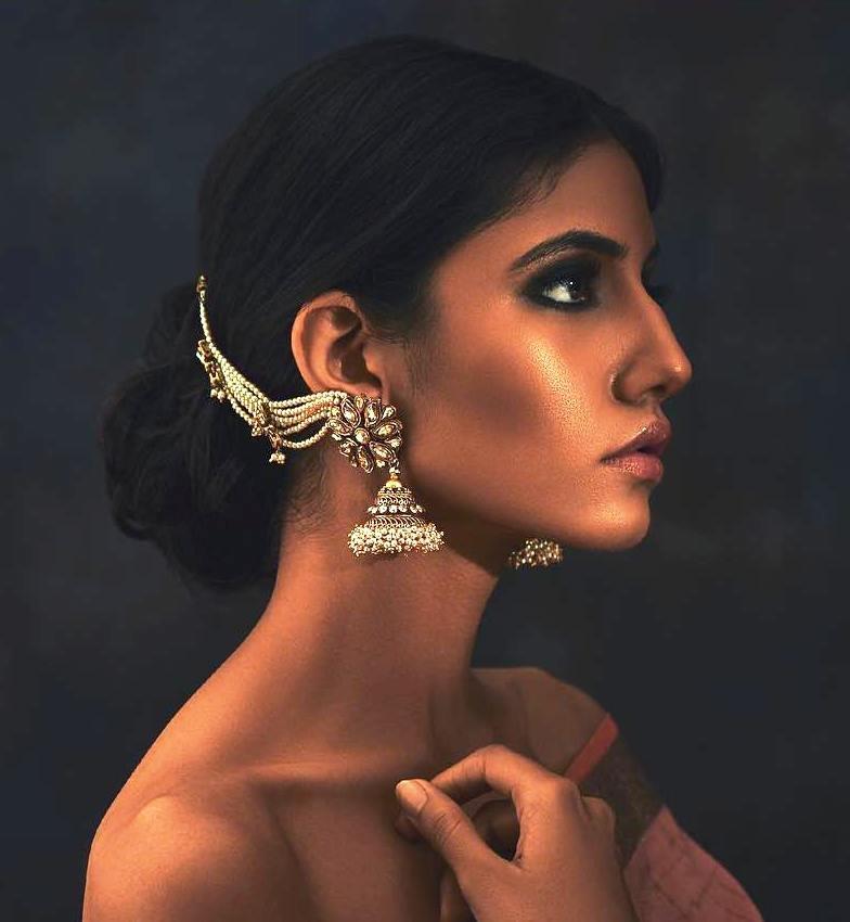 PunjabKesari,Ear Chain with Pearl Stones Jhumka Image,ईयरचैन विद पर्ल स्टोन्स झूमका इमेज