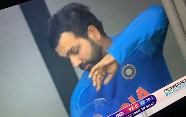 IND v NZ : Rohit sharma crying after lost 6th wicket of team india