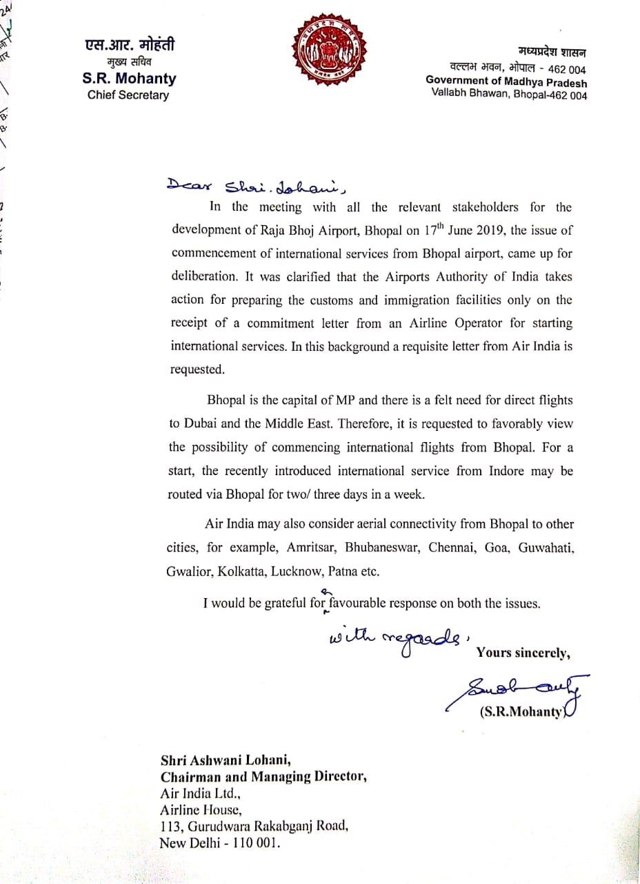 PunjabKesari, Madhya Pradesh News, Bhopal News, Air Connectivity, Indore to Dubai Flight, Chief Secretary, commendable steps