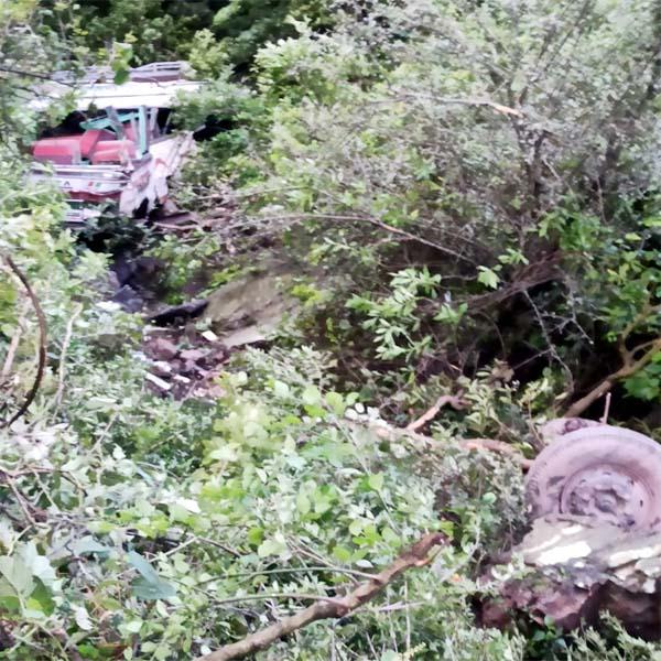 हिमाचल में  निजी बस खाई में गिरी, चालक की मौत; दो घायल