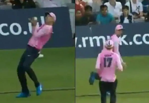 VIDEO : Ab de villiers got brilliant catch on boundary rope