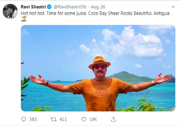 Ravi shastri again share photo on caribbean island