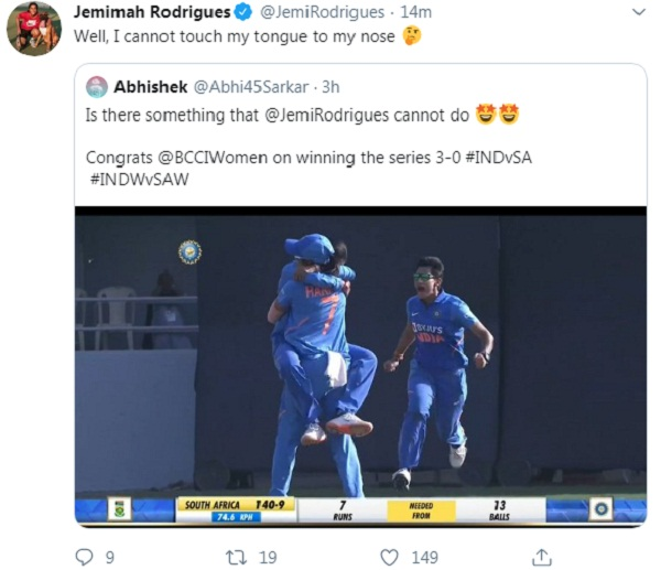 Fans asked Jemima Rodrigues funny question, got funny answer, learn