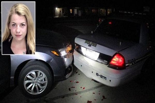 student topless was taking selfi  car hit in police van