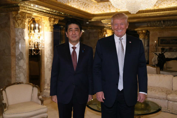 trump to meet abe in first face to face with foreign leader