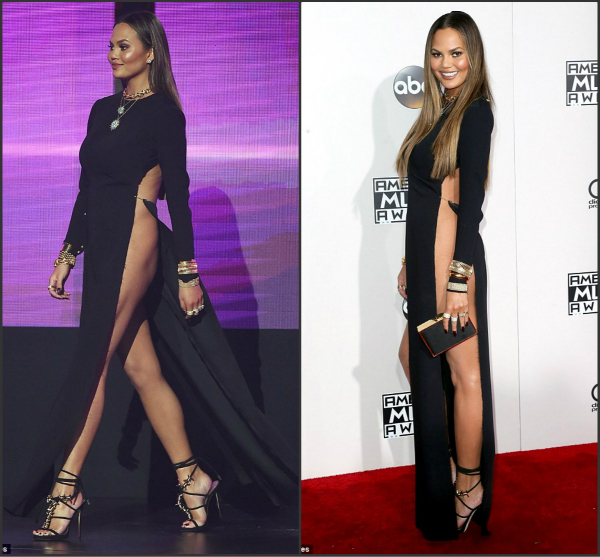 chrissy teigen suffers a wardrobe malfunction in award function
