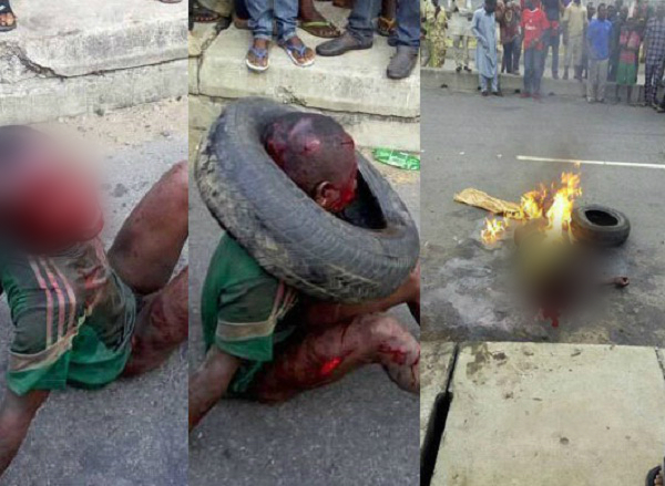 angry mob beat child and burning him to death for robbing in nigeria